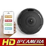 eoqo Cámara de seguridad IP 1080P Wifi Angulo amplio 180°-360° para interiores con visión nocturna IR, Detección de movimiento / sonido de 2 vías, grabación en ciclo (Negro)