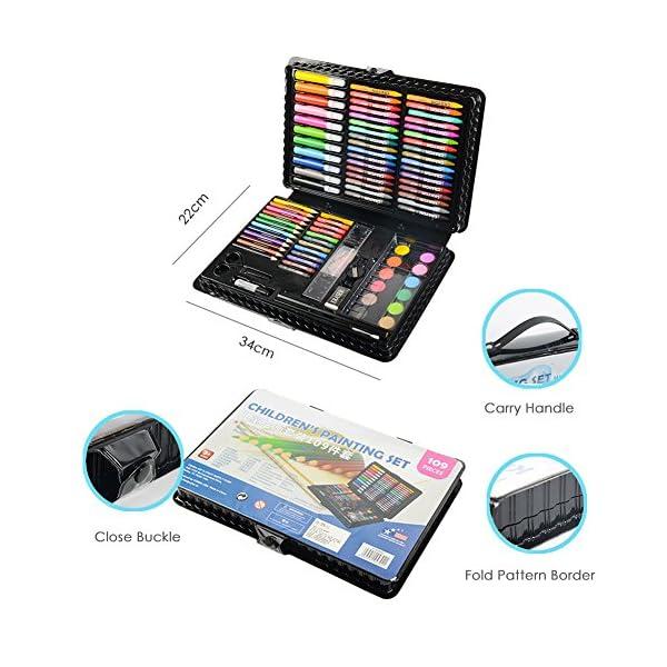 LIVEHITOP 109 PCS Artístico Set de Pintura y Dibujo, Profesional Caso Kit Colores Lápices Acuarela Rotuladores Oleo Pastel Regalo para Niños, Estudiante, Adulto