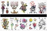 Grasshine 10pcs Tätowierung stieg temporäres tatoo in Pakete, einschließlich Rotwild, Vogel mit Blumen, Frauen und Mann, Tierdame und gentlement, schöne Dame, Rose, Blumen, etc.