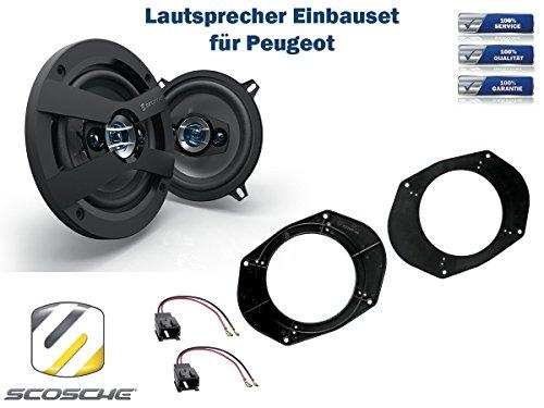 Peugeot 306 Cabrio (7*) Lautsprecher Einbauset (Türe Front) inkl. Scosche HD5254 130mm 3 Wege Triaxial Lautsprecher 200Watt Scosche Audio