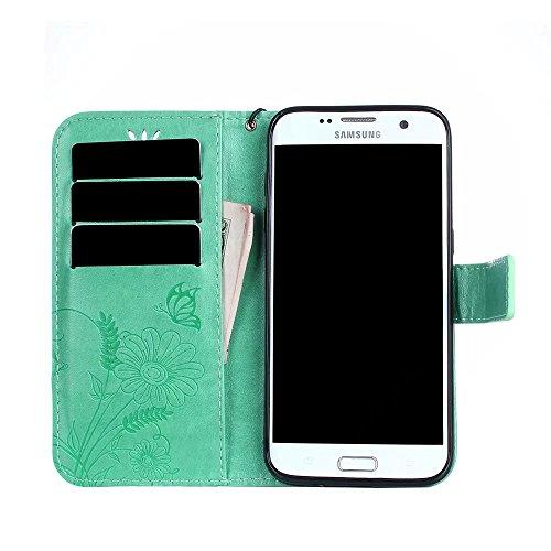 Horizontale Bookstyle Flip Case Premium PU Ledertasche, Solid Color Embossed Blumen Schutzbrieftasche Case Cover mit Lanyard & Stand für Samsung Galaxy S7 Edge ( Color : Modena ) Green