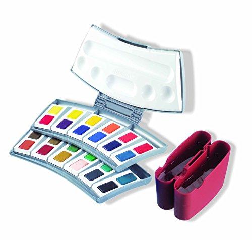 Pelikan Aquarellfarbkästen u.Ersatzfarben (Caran D'Ache) Aquarell-Malkasten 725/24, Kunststoffkasten mit 24 Farben, Kunststoff