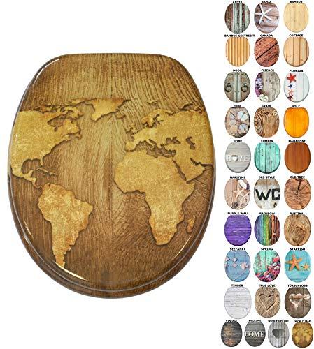 WC Sitz mit Absenkautomatik, viele schöne Holz WC Sitze zur Auswahl, hochwertige und stabile Qualität (World Map) -