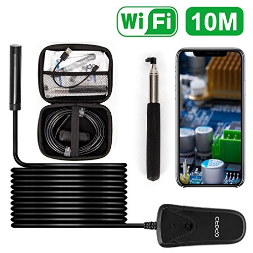 Opard Wifi Endoskop Wireless Endoskopkamera 2.0 Megapixel 1080P HD Drahtlose Inspektionskamera,IP68 Wasserdichte mit 8 Verstellbare LED für IOS Android Smartphone,Tablette -10 Meter (Wifi Tx)