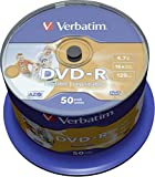 Verbatim DVD-R 4,7 GB 16x vergini full ink wide printable stampabili 120 min. in campana da 50 pezzi (43533)