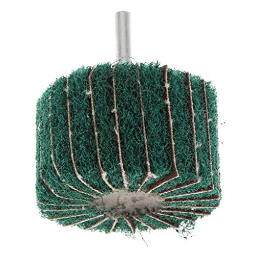 FLAMEER Fächerschleifer Polierschleifscheibe mit Spanndorn für Präzisionswerkzeuge, 6 mm Rundschaft - 60 × 40 × 6 mm mit Grits Green