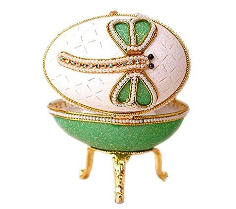 Grün Musikspieluhr Fabergé-Ei Music Treasured Trinkets Keepsake Jewelry Box handgefertigt Eggshell Gliter Perle