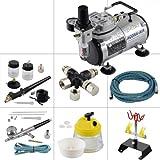 Agora-Tec® Airbrush Komplett-Set EXPERT XII.1, inkl. Kompressor mit 4 bar & 20l/min + 2 Airbrushpistolen mit 0,2 & 0,3 & 0,5 & 0,8mm Nadeln/Düsen + 3-fach Luftdruckverteiler + 4-fach Halter + Clean-Pot + 2 Schläuche + Adapter