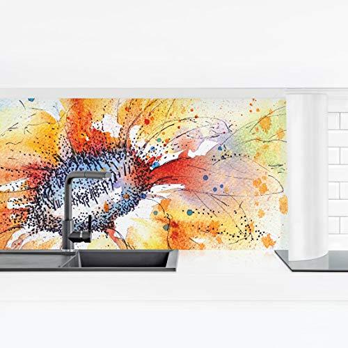 Bilderwelten Küchenrückwand Panorama Folie geklebt - Painted Sunflower Premium 80 x 280 cm -