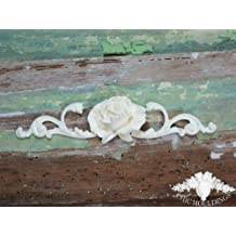 Shabby Chic Moulding Applique Large Rose and Scrolls Decorative Furniture Trim Embellishment Onlay