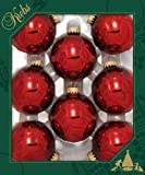 "Christmas Red 2 5/8"" Glass Baubles"