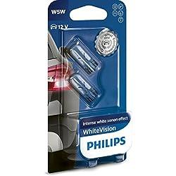 Philips WhiteVision Effet Xénon W5W Lampe Automobile 12961NBVB2, Set de 2