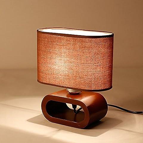 Ywyun Moderne einfache Holzlampen, LED-Augennachttischlampen, Wohnraumbeleuchtung Dekoration Europäische Schlafzimmerlampe Studie ( Color : Brown )