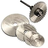 Inditrust 6 Pieces HSS Circular Saw Blade Set for Metal Rotary Tools 5 Blades & 1 Extention Rod (Blue)