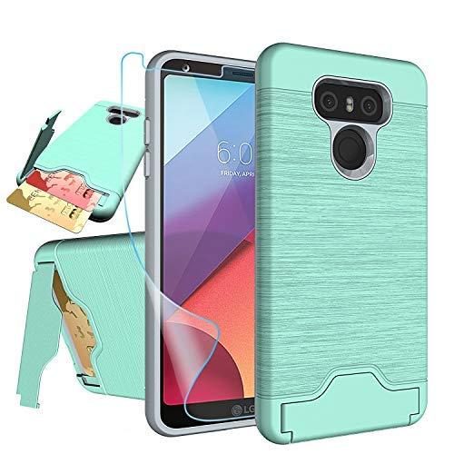 NiuBox LG G6Fall, LG G6Karte Fall mit HD Displayschutzfolie, [Slot Brieftasche für 2Karten] [Standfunktion] Dual Layer Hybrid Stoßdämpfung Schutzhülle Handy Fall für LG G6(Verizon 2017), Türkis (Lg, Verizon Handy-fällen)