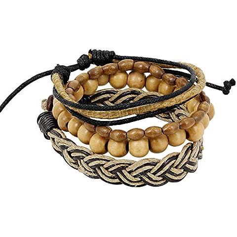indian pelle corda marrone braccialetto di perline per gli uomini - in pelle avvolgente braccialetto bracciali fatti a mano a strati