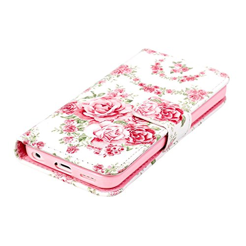 MOONCASE iPhone 5C Coque, [Don't Touch My Phone] Bookstyle Étui à rabat Housse en Cuir Portefeuille de Protection TPU Case avec Béquille pour Apple iPhone 5C Rose Rose