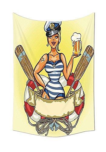 on Pin Up Sexy Sailor Girl in Rettungsring mit Captain Hat und Kostüm Glas Bier Feminines Design Schlafzimmer Wohnzimmer Wohnheim Wand Tapisserie Multi, mehrfarbig, 39.3W By 59L Inch (Sexy Sailor Captain Kostüme)