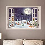 Fensterblick Leinwand Bild 3D Illusion - Fototapete - Poster - Fensterblick - Panorama Bilder - Dekoration - Weihnachten,140x100cm