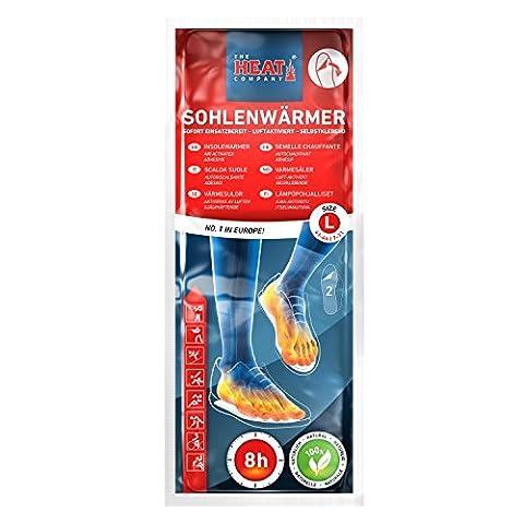 The HEAT company Sohlenwärmer SELBSTKLEBEND 8 Stunden Wärmedauer Wärmesohle Fußwärmer Schuhheizung Fußheizung, LARGE: Grösse 41-46, 5 Paar.