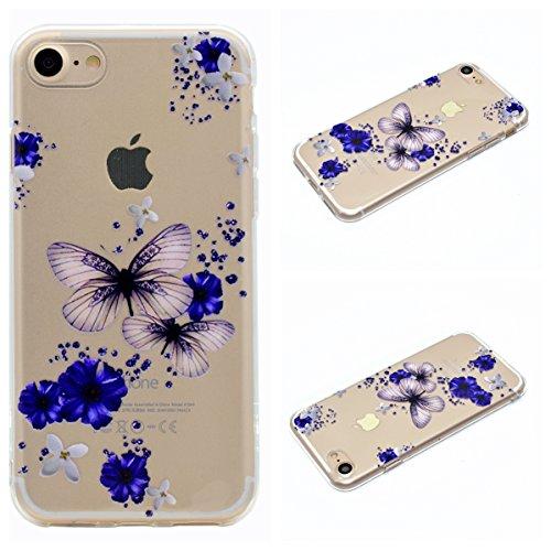 Apple iPhone 7 4.7 Hülle, Voguecase Schutzhülle / Case / Cover / Hülle / TPU Gel Skin (Bunt Herzen 08) + Gratis Universal Eingabestift Lila Schmetterling 04