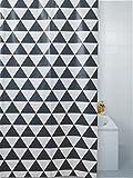 LUXURY MODERN GEO BATHROOM SHOWER CURTAIN BLACK WHITE HOOKS 180 X 180XCM