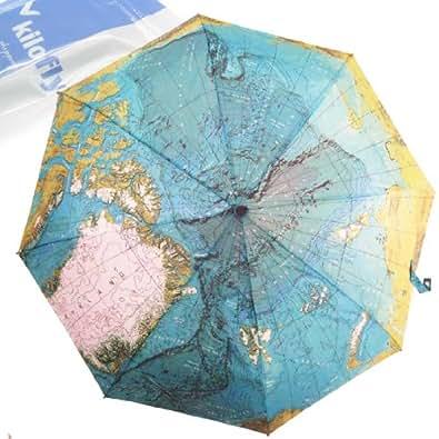 kilofly Parapluie automatique avec housse de transport Motif mappemonde
