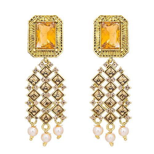 The Luxor Gold Plated Pearl Stylish Party Wear Dangler Earrings For Girls And Women-ER-1813