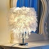 Zimmer White Feather Kristall Tischleuchte Licht für Bett Leselampe(C/Knopf Schalter/Klein)