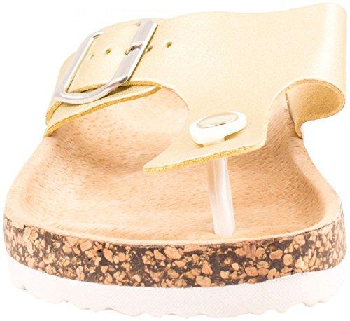 Femmes sandales bride d'orteil flats Chaussures Or