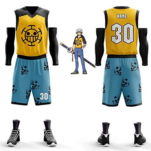ierte Basketball Uniform, Dragon Ball, Pirat, Persönlichkeit, Basketball Weste, Wettbewerb, benutzerdefinierte Trikot (fünf Sätze)-XXXL ()