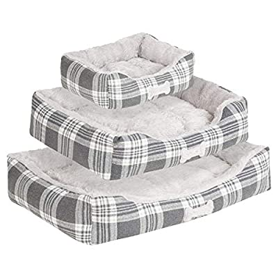 Me & My Super Soft Grey Check Pet Bed - Choice of Size by Me & My Pets