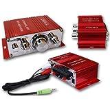 400W Amplificador de potencia Mini Amplificador (ideal para Apartamentos, Moto scooter, Motocicleta, Coche y Reproductor de MP3) - ROJO Modelo: EN4