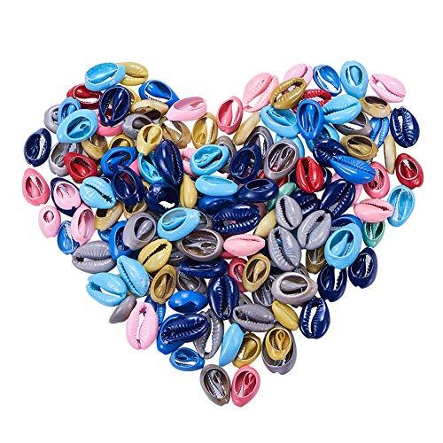 nbeads 200Stück Gemischt Sortiert Farbe Gefärbt Kaurimuschel Perlen Muschel Seashell Charms und Beads mit Löchern