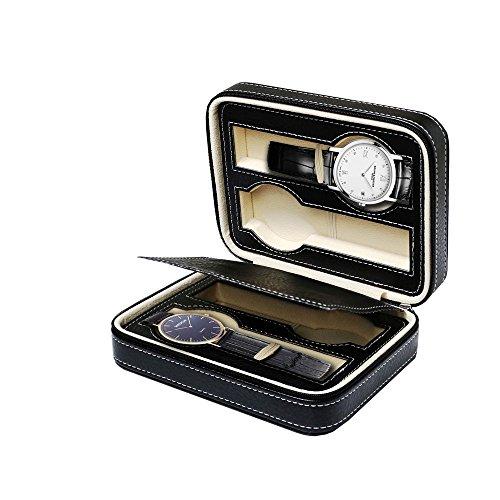 Monsiter Portable Uhrengehäuse für Travel 4 Slots Leder Uhr Veranstalter für Männer oder Frauen