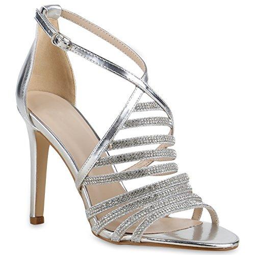Party Damen Sandaletten | Glitzer High Heels | Plateau Sandaletten Strass Nieten | Damenschuhe Snake Lack | Stilettos Schnallen Schuhe Silber Silber Steinchen