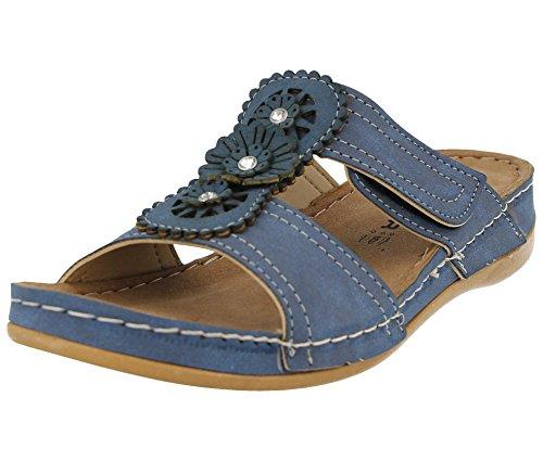 Gezer Damen Pantoletten Sommer Sandalen, Kunstleder, mit gestanzten Details, zum Hineinschlüpfen, leichtgewichtig, flacher Keilabsatz, Größe 35 41,5