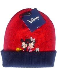 """Bonnet Rouge Mickey Mouse et Minnie Mouse """"En Amour"""", Image Brodée - Marchandise certifiée Disney"""