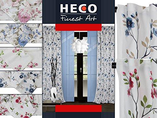 Fertigvorhang mit Universalband von Heco - Louisa - Saki - Nimes - Edler Dekostoff mit eleganter Musterung - Markenqualität - erhältlich in je 2 klassischen Farbkombinationen, Saki, rosé