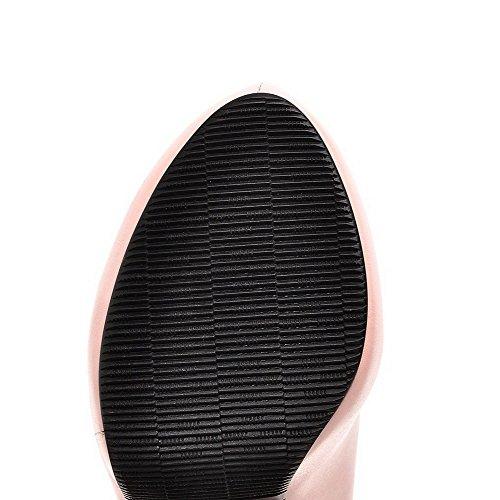 VogueZone009 Femme Matière Souple Rond Fermeture D'Orteil à Talon Haut Boucle Mosaïque Chaussures Légeres Rose
