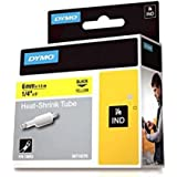 DYMO 6mm RhinoPRO Heat shrink tubes - Cintas para impresoras de etiquetas (D1, Negro, Amarillo, 6 mm, 1,5 m, Caja, 3,2 cm)