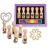 Wooden Happy Handle: Wooden Stamp Set + FREE Melissa & Doug Scratch Art Mini-Pad Bundle [24075] by Melissa & Doug