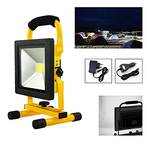 Preisvergleich Produktbild HG® 20W Kaltweiß LED Akku Fluter Arbeitsleuchte Baustrahler Handlampe Campinglampe Wiederaufladbare Außenstrahler