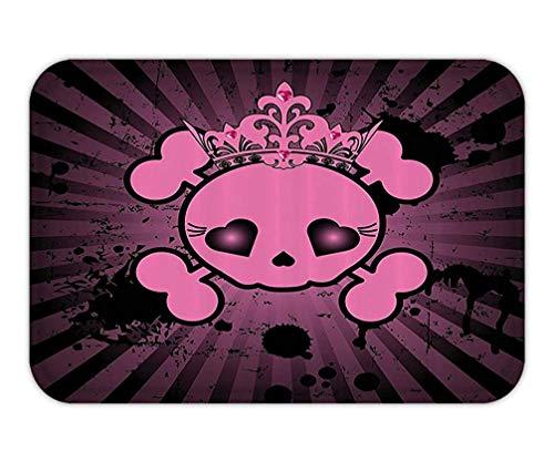 HLKPE Doormat SkullDecoration Set Cute Skull Illustration with Crown Dark Grunge Style Spooky Halloween Print Bathroom Accessorie Extralong Pink Black.jpg 15.7X23.6 Inches/40X60cm