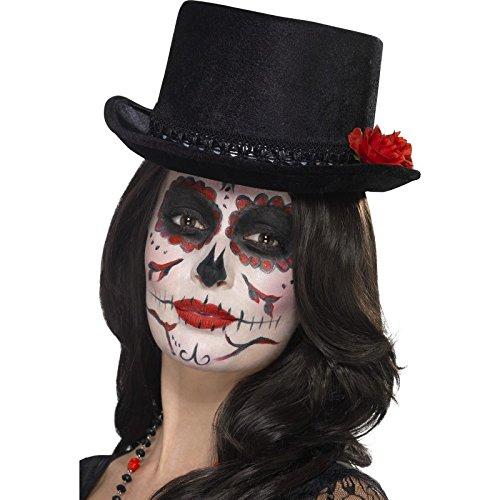 Smiffys, Damen Tag der Toten Zylinder mit Rosen, One Size, Schwarz, (Toten Kostüme Herren Der Halloween Tag)