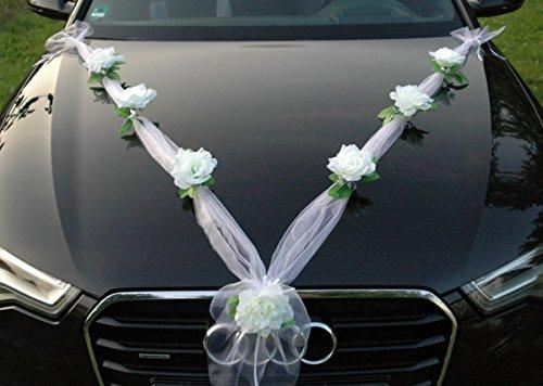 ORGANZA M Auto Schmuck Braut Paar Rose Deko Dekoration Autoschmuck Hochzeit Car Auto Wedding Deko Girlande PKW (Weiß / Weiß)