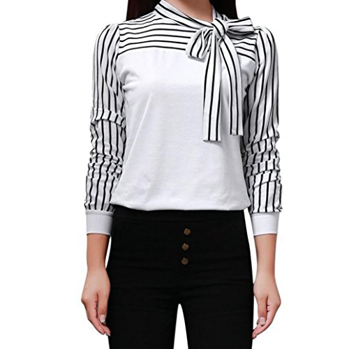 OVERDOSE Frauen Tie-Bow Neck Striped Langarm Spleiß Shirt Bluse Damen Frühling Sommer Hemd T-Shirt Oberteil (A-White,XL) Striped Bow Tie