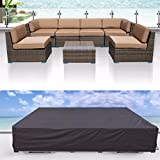 Furniture Covers, Essort Garden Furniture Cover Patio Cover, Waterproof Sofa Set Cover Garden Outdoor Patio 2-12 Seater Corner Sofa Cover Table Chairs PVC 315 x 160 x 74 cm