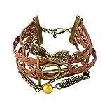 ESUNG Harry Potter Doni della Morte Logo-Golden Snitch-Hedwig Ciondolo 3 in 1 braccialetto Handmade