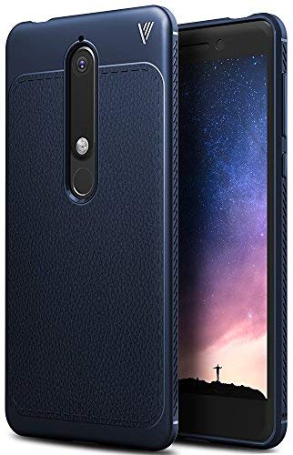 Nokia 6 2018 Hülle, iBetter Slim Weiches Stoßsicheres Gehäuse mit Spezial-Hexagon Texture Schutzhülle Soft Hüllen Handyhülle für Nokia 6 Dual SIM Smartphone VERSION 2018(Blau)